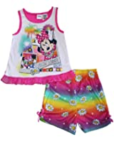 Disney Minnie Mouse Little Girl's Tank Sleeve Top and Shorts 2 Piece Pajama Set