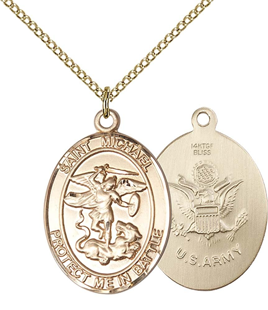 Michael the Archangel Pendant Gold Filled Lite Curb Chain Patron Saint Police Officers//EMTs 1 x 3//4 14kt Gold Filled St