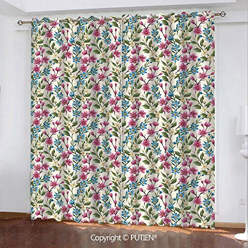 (Satin Grommet Window Curtains Drapes [ Flower Decor,Shabby Chic Floral Buds Leaves Ivy Like Garden Decor Design Art Print,Pink and Blue ] Window Curtain for Living Room Bedroom Dorm Room Classroom Kit)