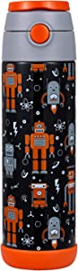 Snug Flask for Kids (500ml) - Vacuum Insulated Water Bottle with Straw (Robots)