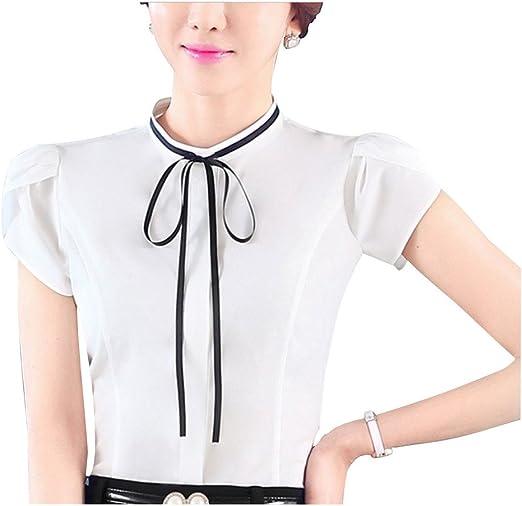 YangguTown YGT Womens Chiffon Lace Slim Long Sleeve Blouse Stand Collar Office Shirt