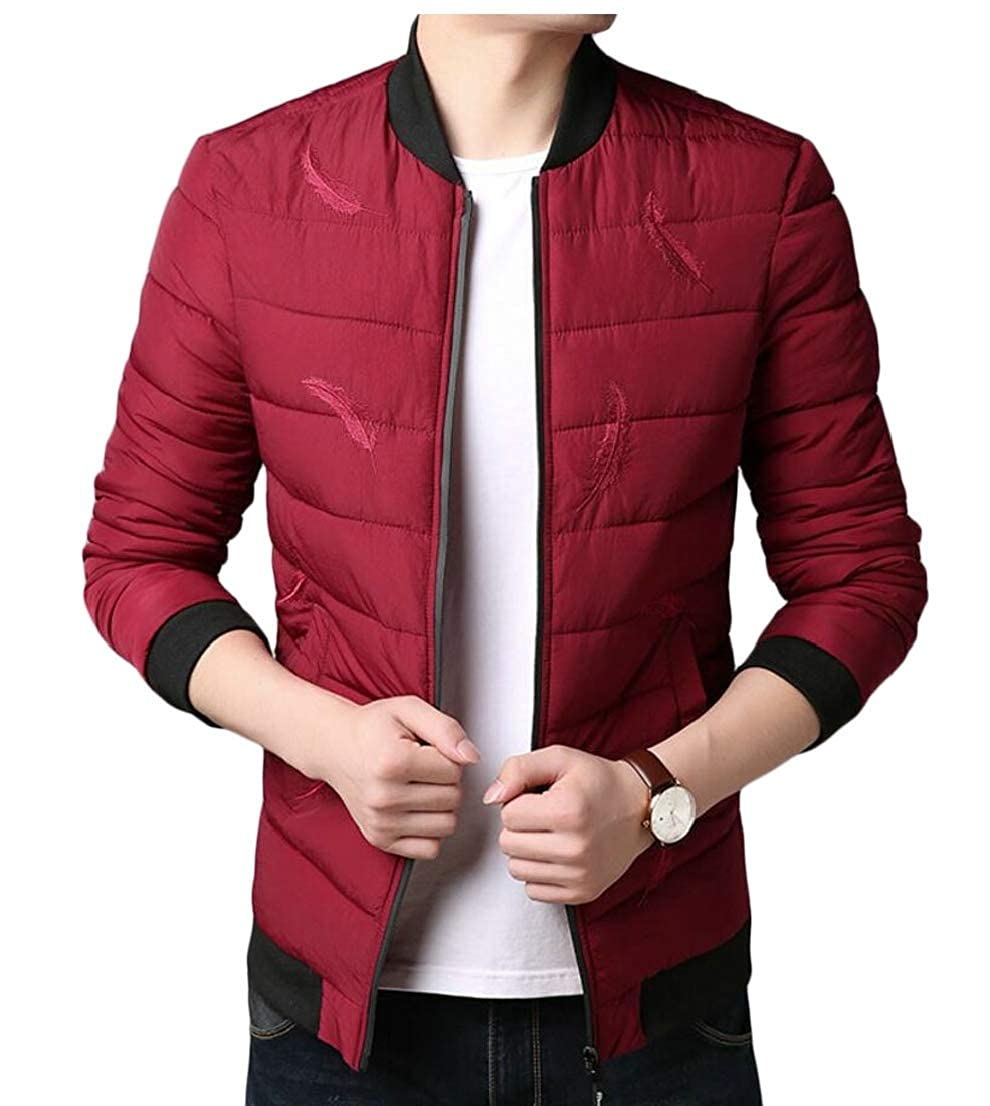 Generic Mens Winter Full-Zip Padded Pufer Quilted Bomber Jacket Warm Outerwear