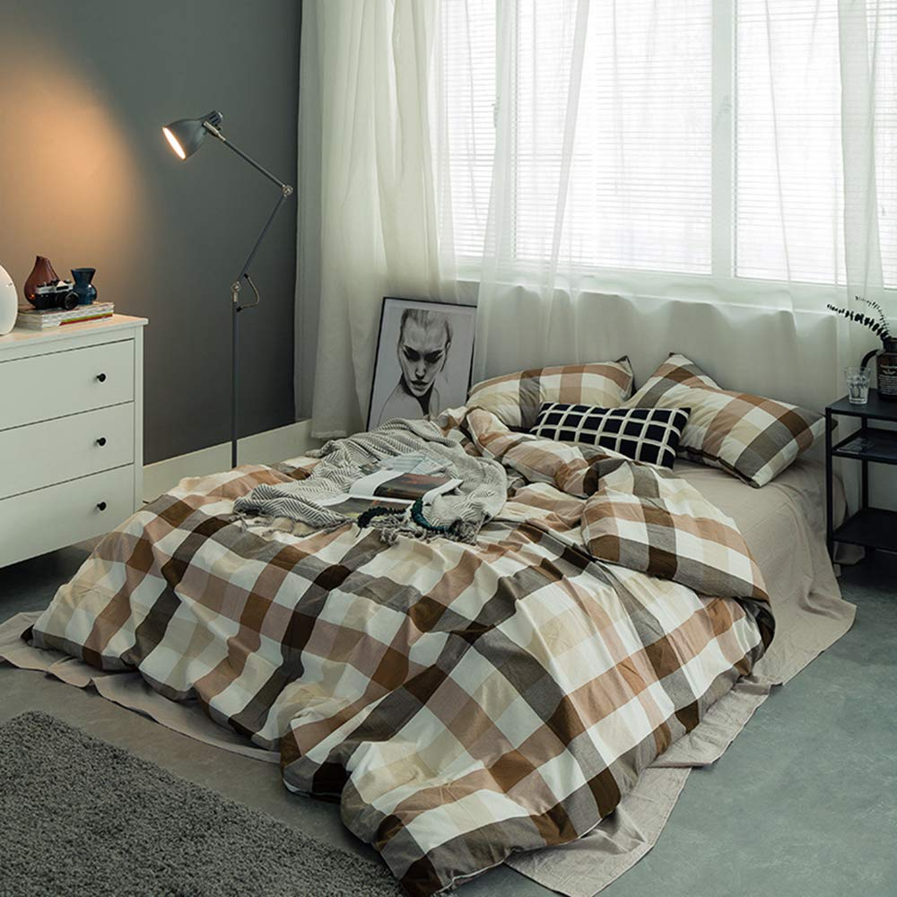 AMWAN Soft Cotton Plaid Bedding Set Queen Luxury Teens Men Boys Duvet Cover Set Full Hotel Quality Washed Cotton Bedding Collection Zipper Closure Full Queen Comforter Cover Set with 2 Pillowcases