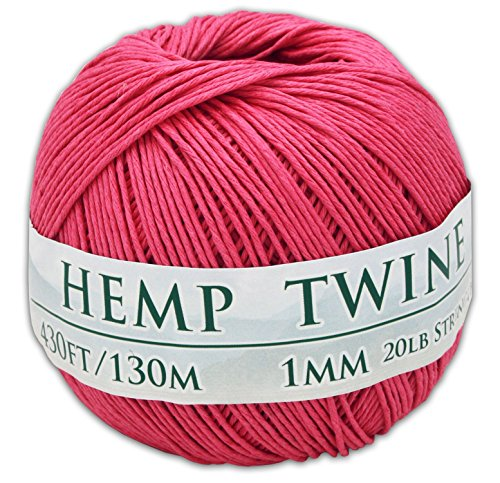 430 Feet of 1mm 100% Hemp Twine Bead Cord in Pink ()