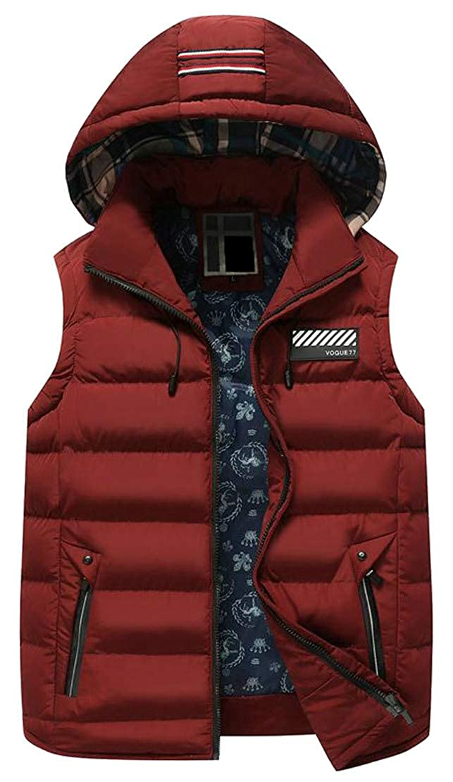 Lutratocro Men Removable Quilted Zip Sleeveless Hooded Casual Jacket Down Vest
