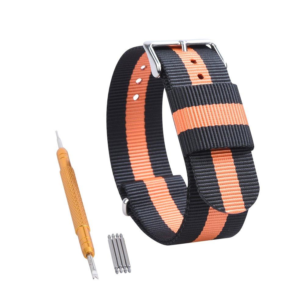 RANDON 腕時計用替えバンド NATO ベルト バリスティックナイロン ステンレス鋼バックル付き 24mm|ブラック/オレンジ ブラック/オレンジ 24mm B01MR7B1NQ