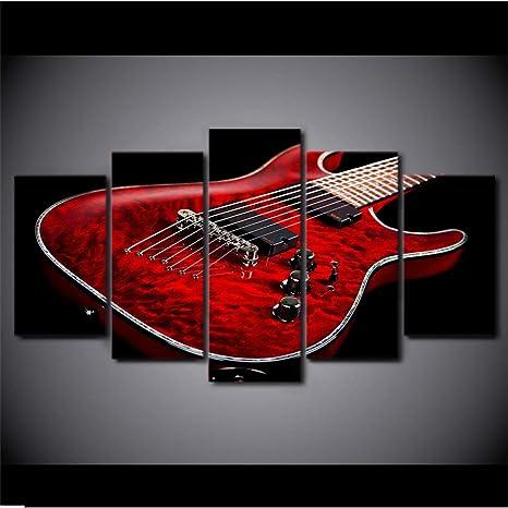 hhlwl Lienzo HD Impresión de Fotos Wall Art Framework 5 Piezas Música Guitarra Eléctrica Roja Pinturas
