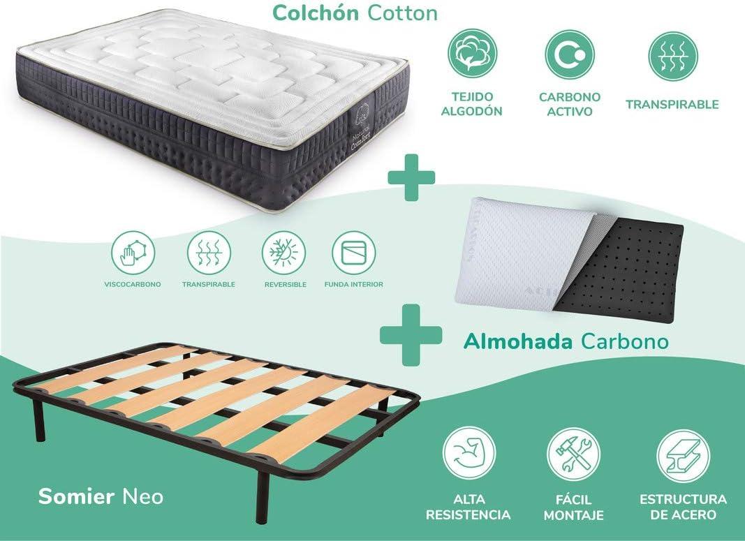 Dreaming Kamahaus Pack Somier Neo + Colchón Cotton Soft + Almohada Carbono| 180 x 190 cm (2 uds a unir 90 x 190 cm): Amazon.es: Hogar