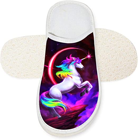 Jane-LEE Rainbow Unicorn Horse House Slippers//Bedroom Shoes//Flat Shoes//Indoor Slippers