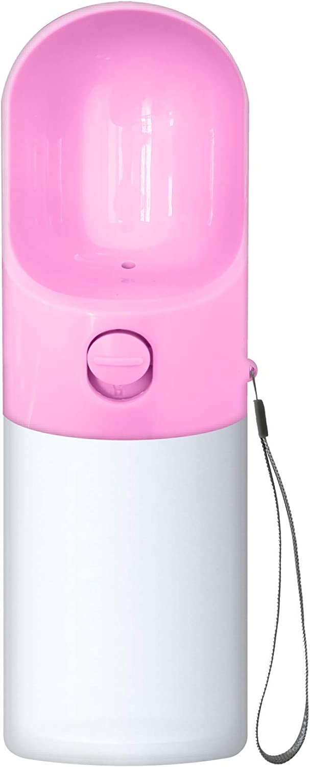 BestPawz Pet Travel Water Bottle, Leak Proof, Dog Water Dispenser with Drinking Feeder for Pets - Outdoor Walking, Hiking, Traveling - Portable and Convenient, Food-Grade, BPA-Free Silicone Pink 14oz