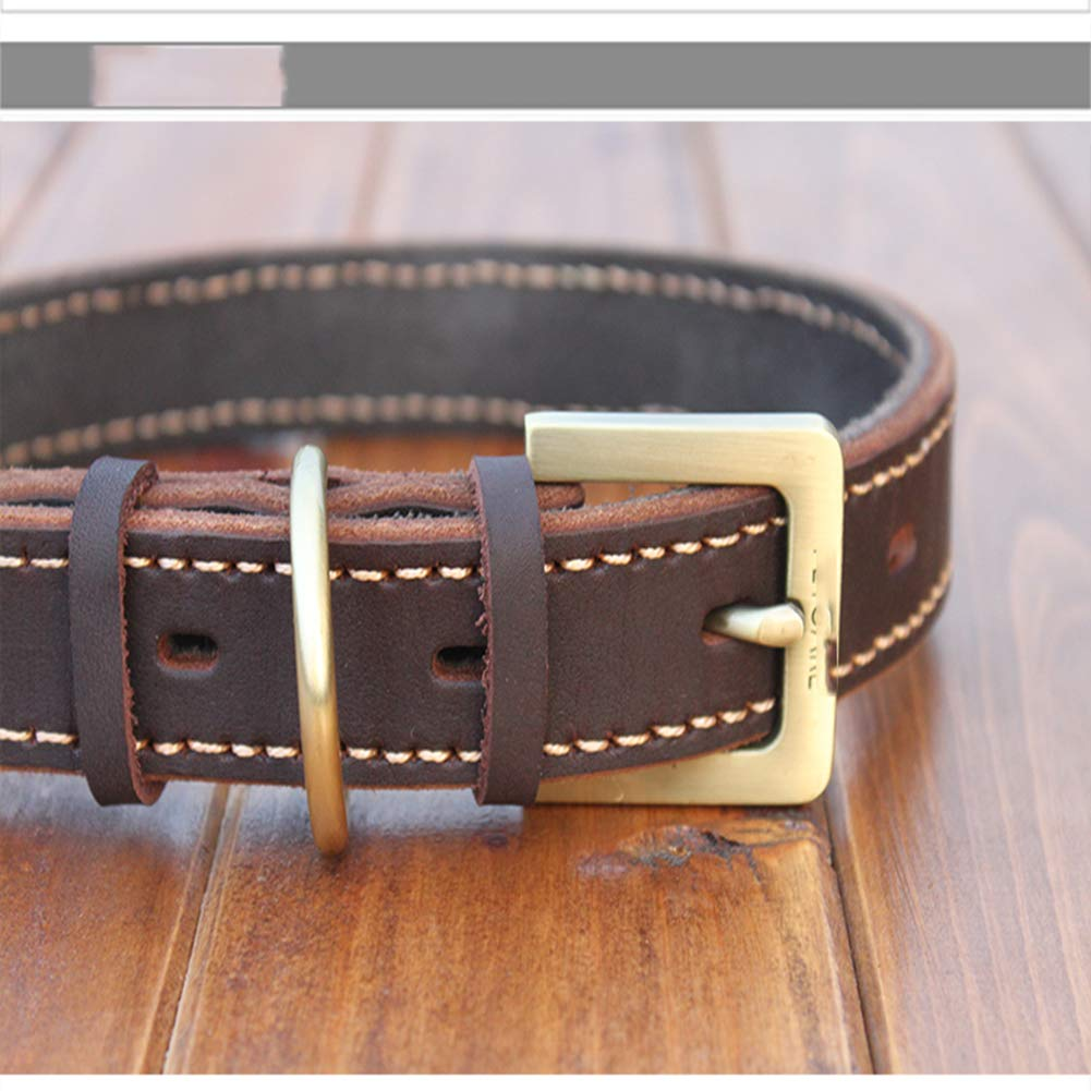 56-67cm MFZJ Pet Collar Dog Collar Collar Dog Ring Retro Copper Buckle 56-67Cm