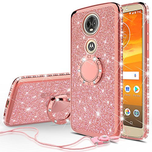 SOGA Diamond Bling Glitter Cute Phone Case with Kickstand Compatible for Motorola Moto E5 Plus Case, Motorola Moto E5 Supra Case,Rhinestone Bumper Slim with Ring Stand Lanyard Girls Women Cover Rose