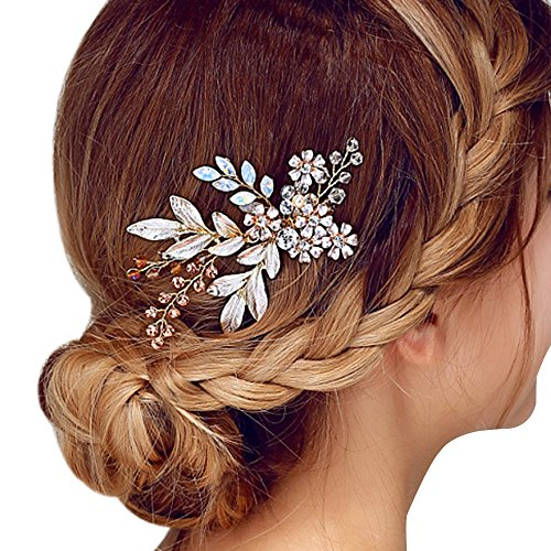 Happy Hours – Women Pearl Rhinestone Handmade Hairpins / Floral Shaped Design Barrette Clips for Wedding Prom Bridal Bridesmaid Jewelry Accessories(4…