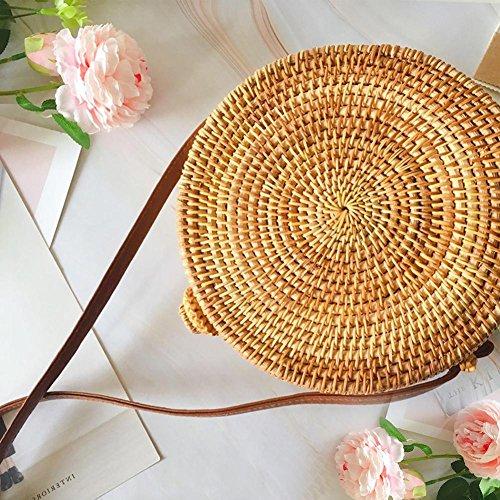 Shoulder Pattern Crossbody Storage Summer Rattan Woven Bag Bag Five Home Bag Cutout Bohemia Vintage Star Basket pointed Round Beach Straw YZxYwp