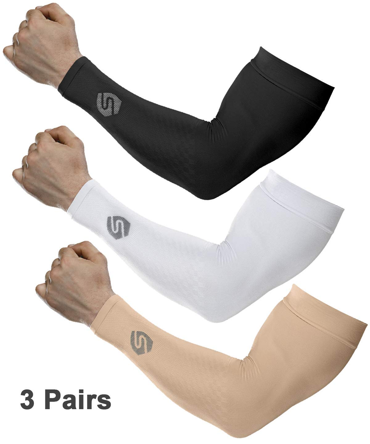 SHINYMOD Cooling Sun Sleeves 2018 Newest Upgraded Version 1 Pair/ 3 Pairs UV Protection Sunblock Arm Tattoo Cover Sleeves for Men Women Cycling Driving Golf Running-3 Pair Black+White+Beige