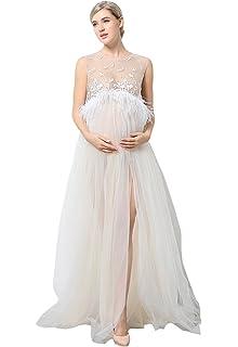 7125c477458af EPLAZA Maternity Maxi Lace Dress Set Sleeveless Split Photography Gown