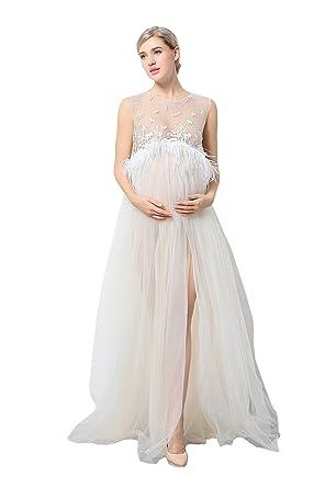 0642a97b08c7c6 EPLAZA Maternity Maxi Lace Dress Set Sleeveless Split Photography Gown ( Beige)