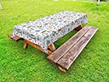 "Lunarable Camping Outdoor Tablecloth, Spending Time in The Nature Pattern Wildlands Activities Trekker with Sleeping Bag, Decorative Washable Picnic Table Cloth, 58"" X 104"", Lavender Orange"