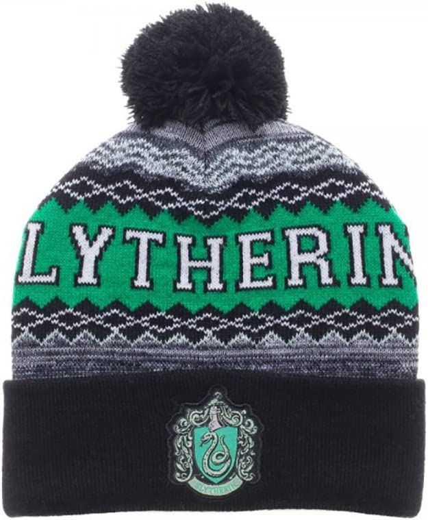 Bioworld Harry Potter Slytherin Cuff Pom Beanie Winter Hat , Green , One Size: Toys & Games