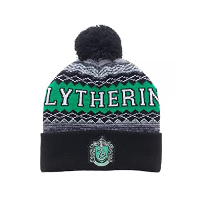 Amazon.com  Bioworld Harry Potter Slytherin Cuff Pom Beanie Winter Hat  1f6d4a43601