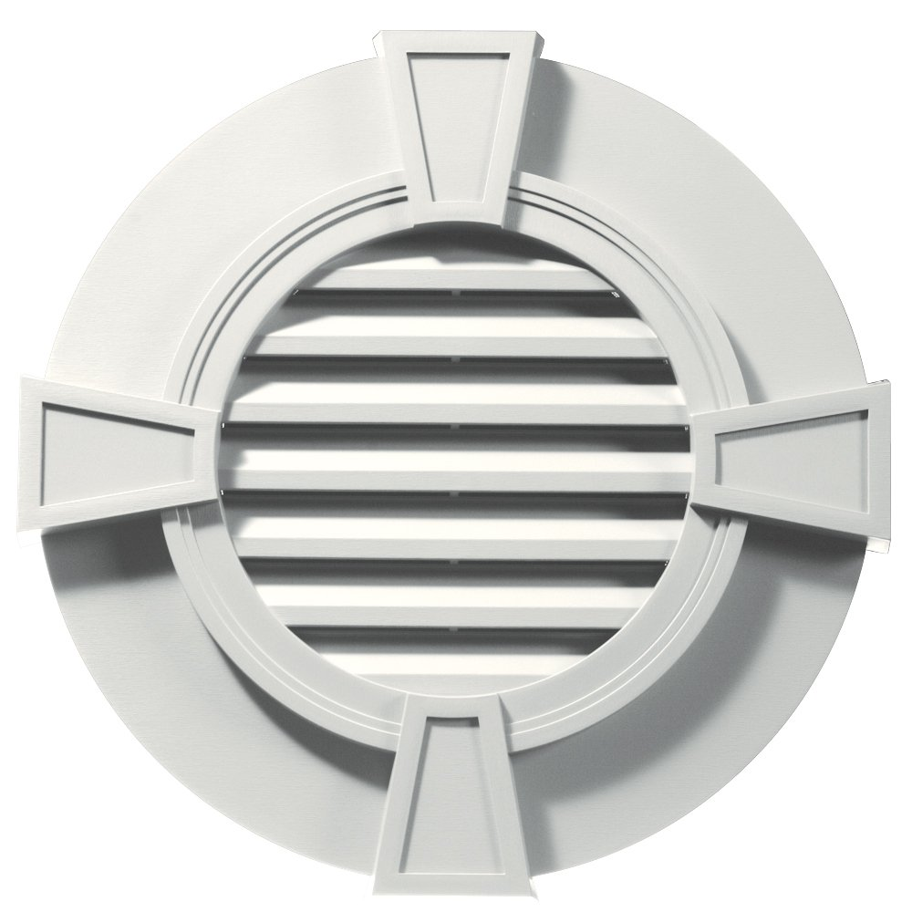 Builders Edge 120033030123 30'' Round Octagon Vent Wide Ring and Keystones 123, White