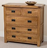 Cotswold Rustic Solid Oak 2+3 Chest Of Drawers 5 Drawer Chest