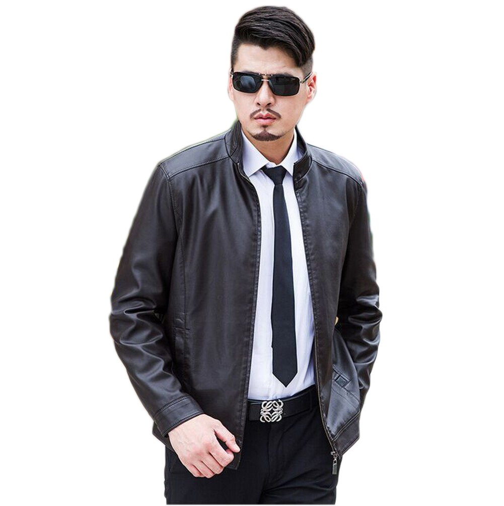 Love Dress Slim Fit Leather Jackets for Men Warm Coats Brown XXL