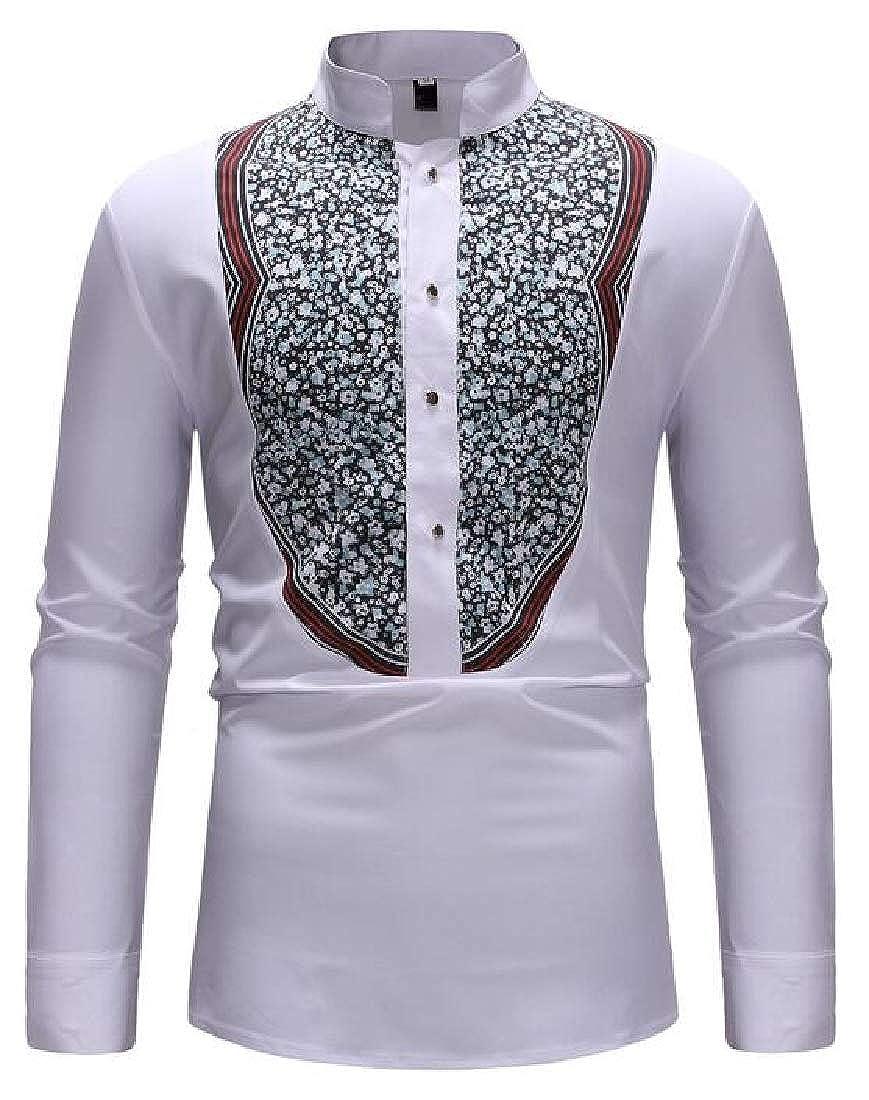 Jotebriyo Men Casual Shirts Printing Button Stand Collar Long Sleeve Dress Shirts