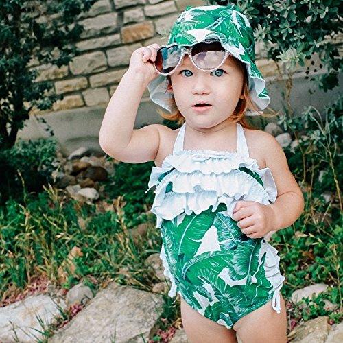 Baby Girl Leaf Swimsuit Ruffles Swimwear Halter Bathing Suit One Piece Bikini with Sun Hat for Toddler Girls Beach Wear