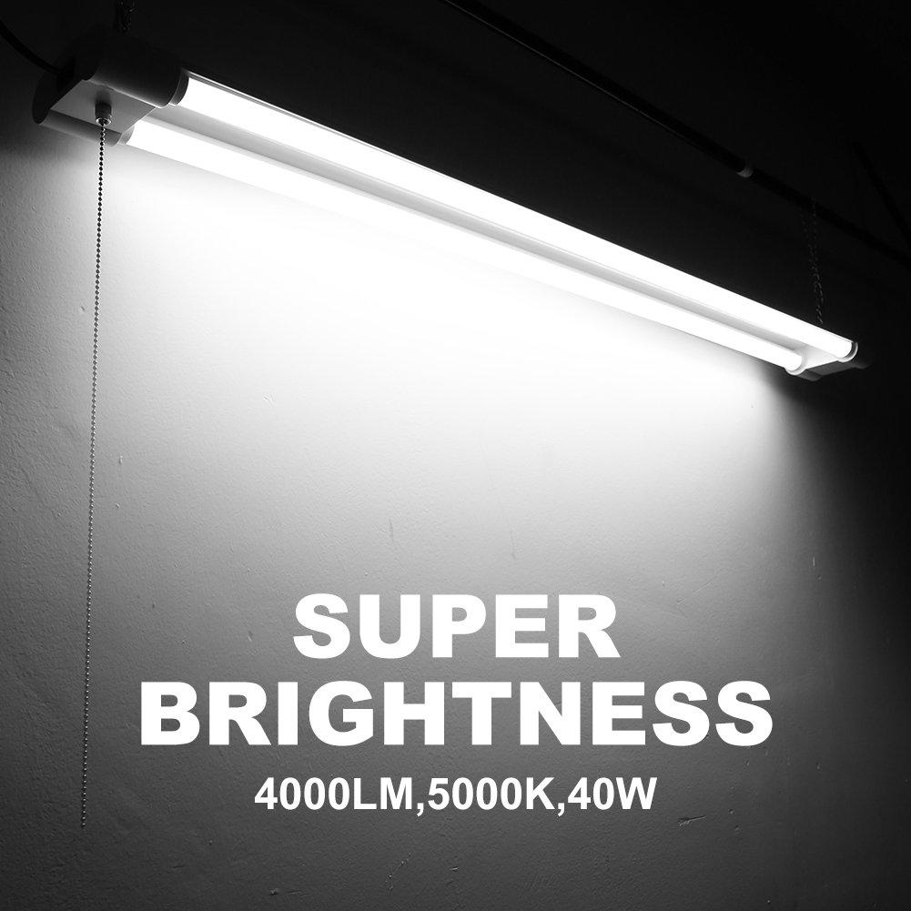 Linkable 40W 4FT LED Utility Shop Lights for Garage BBOUNDER 4000 Lumen 5000K Daylight Super Bright Utility Light Fixture Hanging Mounting Light for Warehouse Basement Garage Workbench (6 pack) by BBOUNDER (Image #2)
