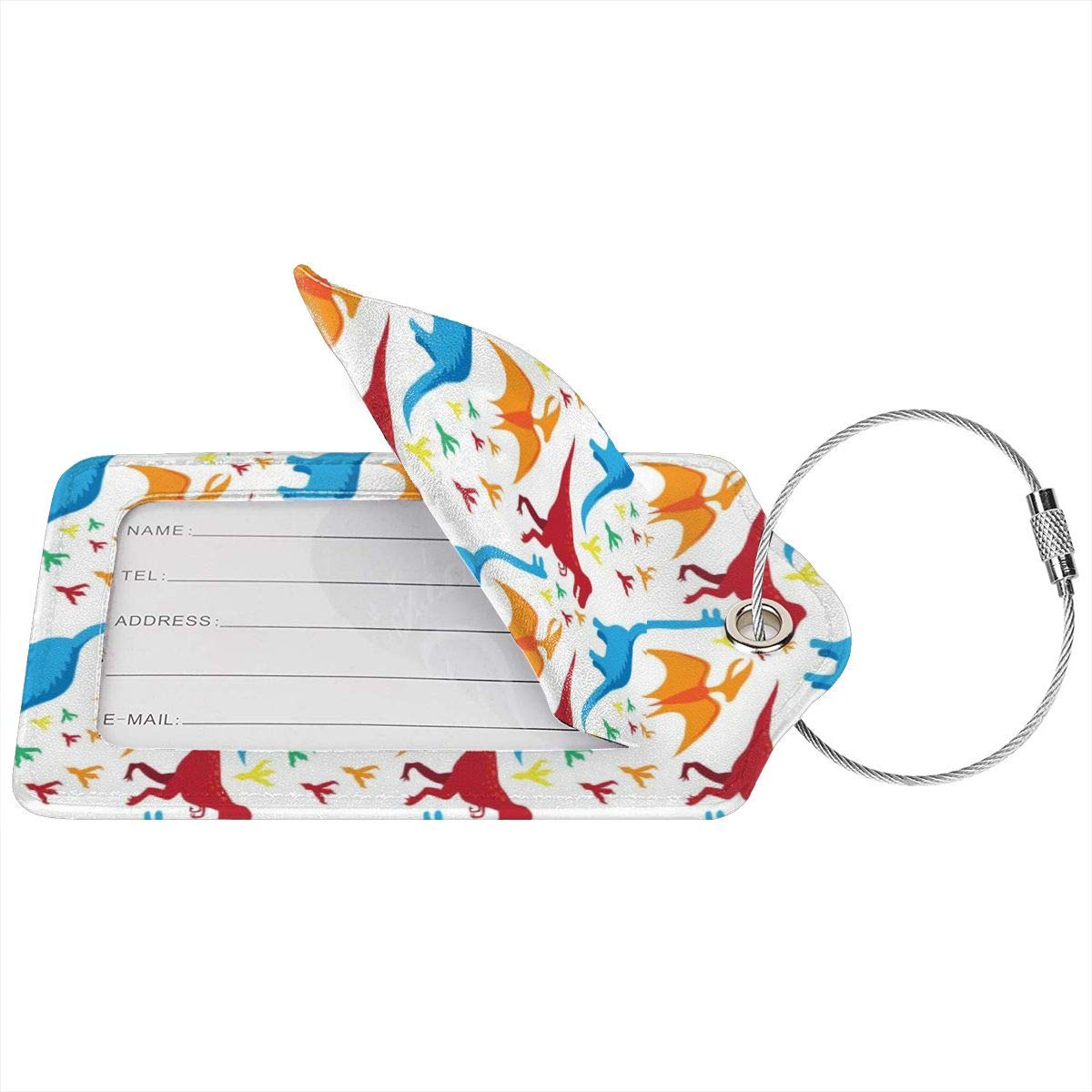 Dinasor Leather Luggage Tags Personalized Suitcase Tag With Privacy Flap