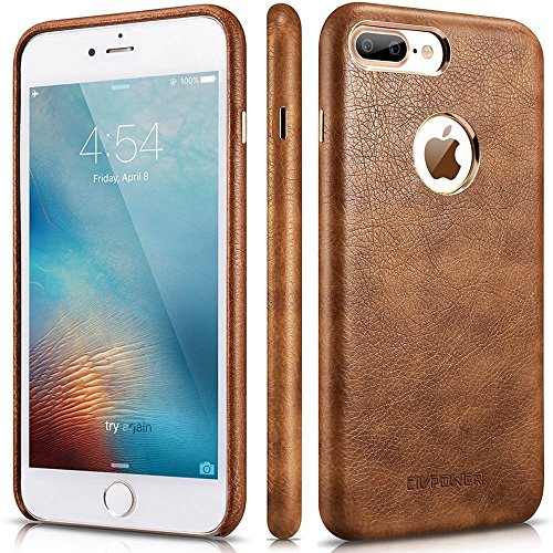 iPhone 8 Plus Case - Premium iPhone 8 Plus Leather Case - Best Mobile Cell Phone Cases Protective Back Cover - Slim Fit Vegan Artificial Synthetic PU Leather Case for Apple iPhone 8 Plus - Brown