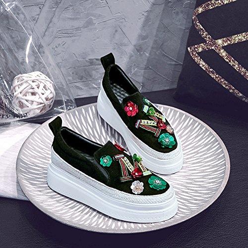 Q1609 KJJDE Black Elegante Fiori Donna Suola 38 Spessa Scarpe Paillettes WSXY Piattaforma qAnSwXAxrF