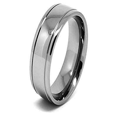 Ultra Thin 6mm Lightweight Titanium Double Grooved Wedding Band ...