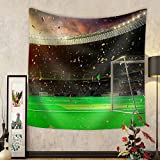 Gzhihine Custom tapestry Evening Stadium Arena Soccer Field Championship Win. Confetti and Tinsel . Yellow Toning - Fabric Wall Tapestry Home Decor