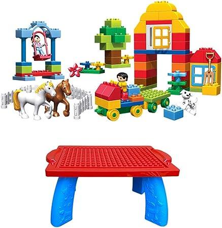Fengbingl-hm Actividades para niños Mesa de Juego Bloques de construcción for niños Rompecabezas Ensamblar Juguetes Mesa de Juegos for niños Fundación de plástico Grande con Mesa para niños: Amazon.es: Hogar