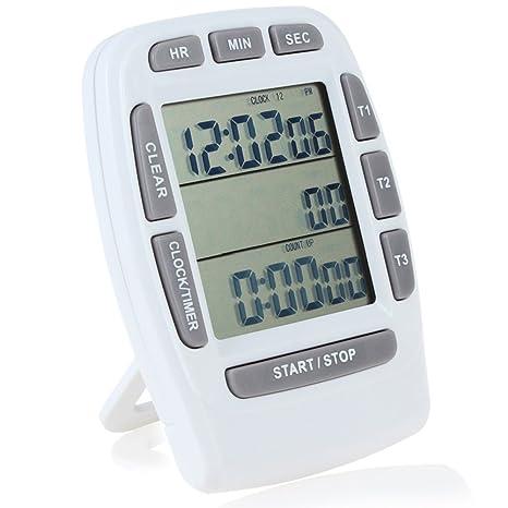 Temporizador digital de cuenta regresiva Searon, de 3 canales, con reloj de 12/