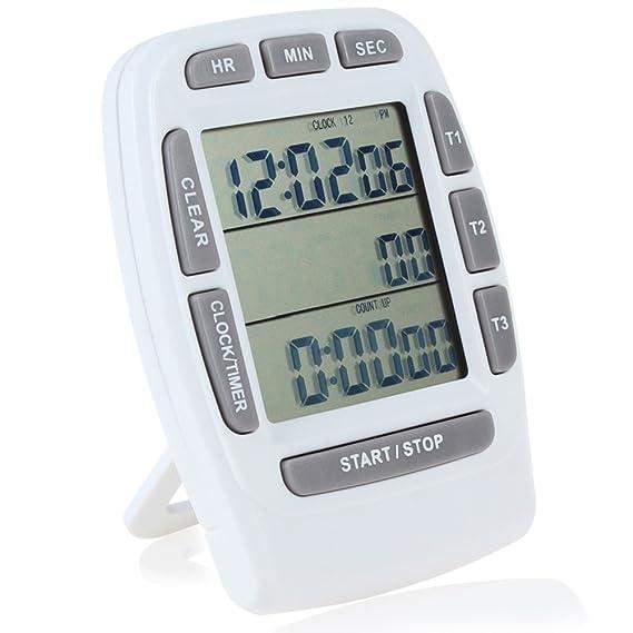 Compra Temporizador digital de cuenta regresiva Searon, de 3 canales, con reloj de 12/24 horas, para cocina, laboratorio, actividades infantiles en Amazon. ...