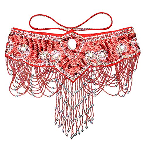- Dance Fairy Belly Dance Belt Tassels Handmade Shiny Flower Rhinestone Hip Scarf with Adjustable Velcro Straps(Red)