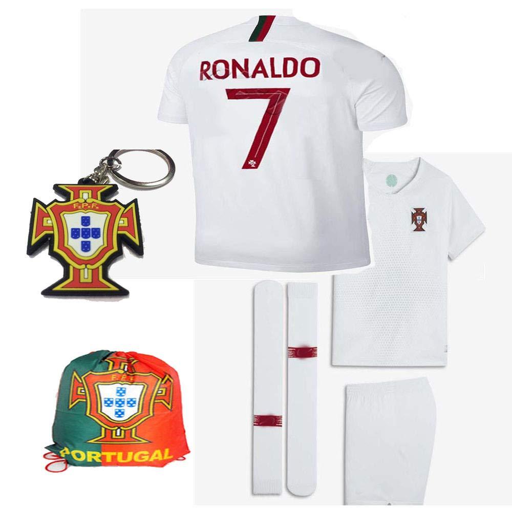 promo code a8521 367c6 Portugal World Cup 2018 18 Kid Youth Replica C. Ronaldo Jersey Kit : Shirt,  Short, Socks, Bag, PVC Key