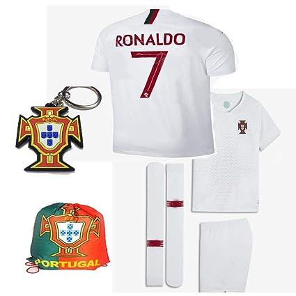 promo code e0bf0 087ba Portugal World Cup 2018 18 Kid Youth Replica C. Ronaldo Jersey Kit : Shirt,  Short, Socks, Bag, PVC Key