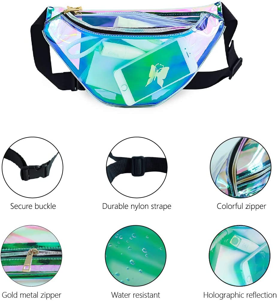 Travel,Musicale Deeplive Holographic Shiny Neon Waist Fanny Pack Waterproof for Women Girls Men,Holographic Chest Pack Bum Bag for Rave,Festival,Ride,Party
