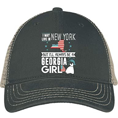 cheap for discount e0563 87f03 I May Live In New Work Hat, Always Be A Georgia Girl District Mesh Back Cap  (District Mesh Back Cap - Black) at Amazon Men s Clothing store