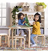 Guidecraft Nordic Table and Chairs Set for Kids: Natural - 4 Stacking Bentwood Stools with Curved...