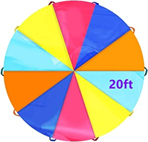 SupinefoxUS 6ft Play Parachute with 8 Handles Multicolored Parachute for Kids, 6ft/10ft/20ft Kids Play Parachute for Indoor Outdoor Games Exercise Toy