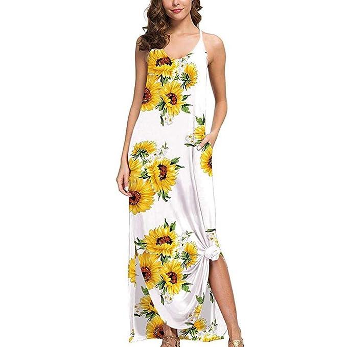 terbklf Womens Summer Loose Plus Size Sunflower Dress Ladies ...