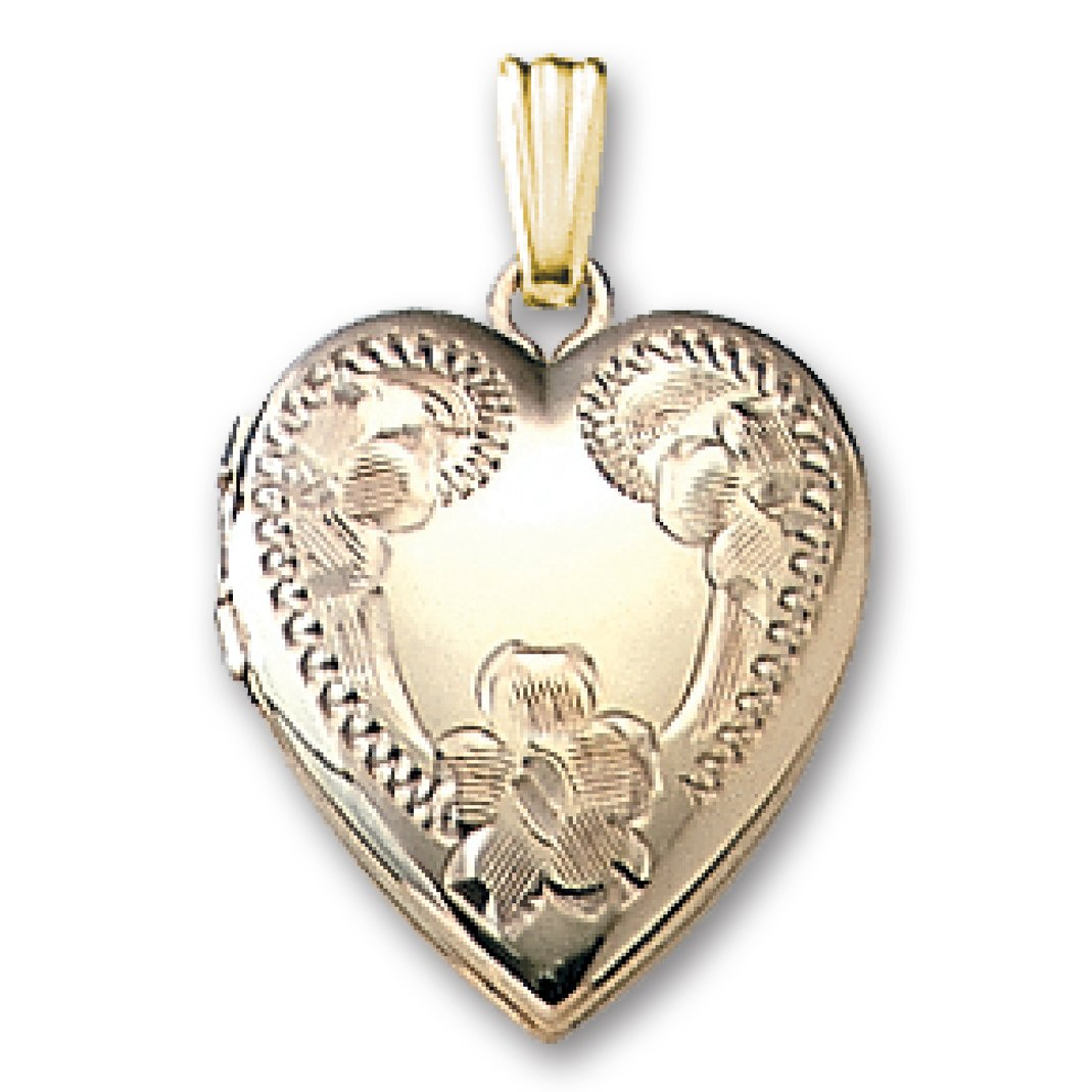 Genuine 14K Yellow Gold Heart Shaped Locket with Engraved Flower Design (5/8''x5/8''