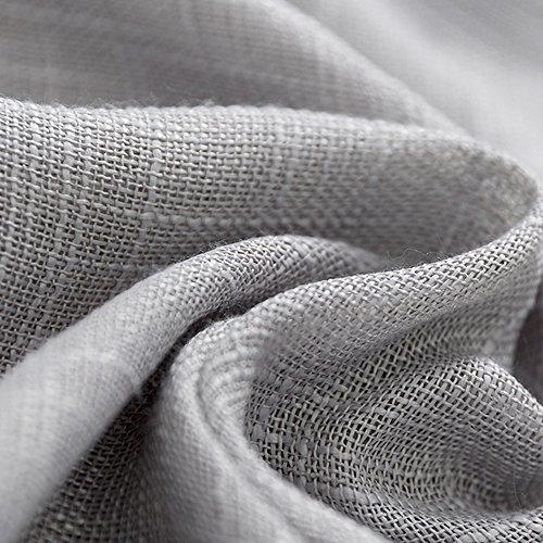 Linen Look Sheer Valance Bedroom 16 inch Length Valances Windows Rod Pocket Curtain Valance Grey Living Room, 1 Panel, Grey by jinchan (Image #1)'