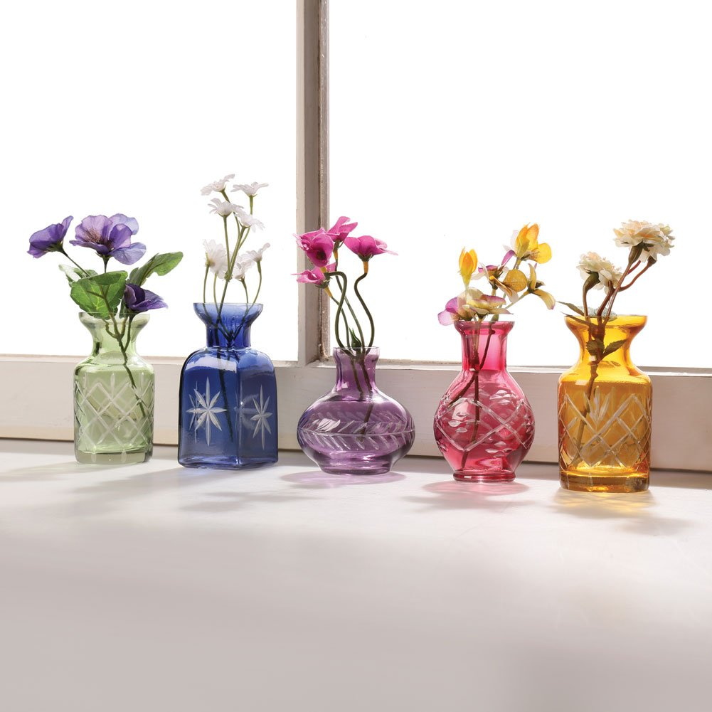 "ART & ARTIFACT Set of 5 Petite Glass Bud Vases in Clear or Jewel Tones- Fun Shapes, 2 3/4""-3 3/4"" H - Jewel Tones"