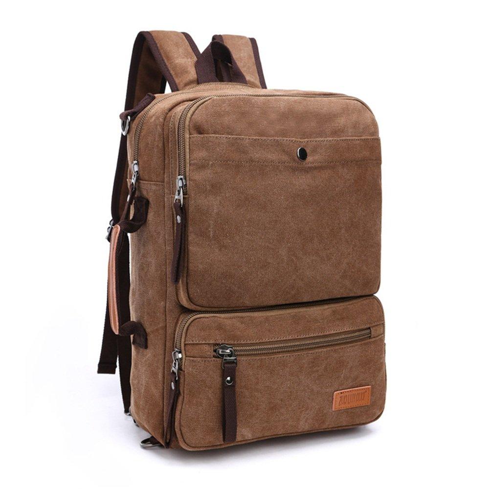 BESTSOON Zaino per Laptop da Viaggio Zaino per Uomo Donna Zaino Daypack Impermeabile Vintage Zipper Canvas Laptop Bag Outdoor Hiking Borsa Computer Scuola per Donna Uomo (colore   Coffee Colore)